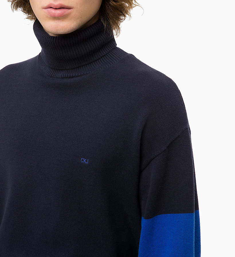 CALVIN KLEIN JEANS Colour Block Turtleneck Jumper - CK BLACK - CALVIN KLEIN JEANS MEN - detail image 2