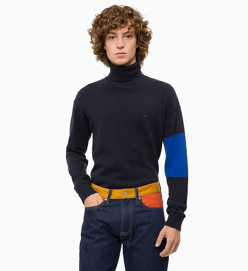 CALVIN KLEIN JEANS Colour Block Turtleneck Jumper - CK BLACK - CALVIN KLEIN JEANS MEN - main image