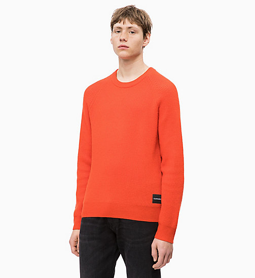 CALVIN KLEIN JEANS Premium Wool Jumper - PUMPKIN RED - CALVIN KLEIN JEANS FALL DREAMS - main image