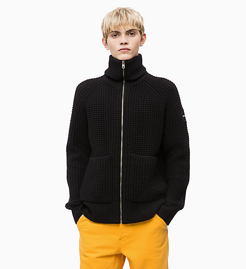 CALVIN KLEIN JEANS Cardigan in misto lana di agnello con zip - CK BLACK - CALVIN KLEIN JEANS IN THE THICK OF IT FOR HIM - immagine principale