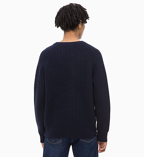CALVIN KLEIN JEANS Lambswool Blend Waffle Jumper - NIGHT SKY - CALVIN KLEIN JEANS IN THE THICK OF IT FOR HIM - detail image 1