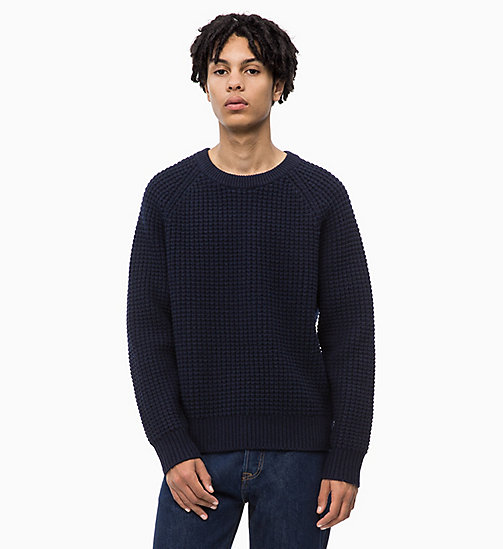CALVIN KLEIN JEANS Lambswool Blend Waffle Jumper - NIGHT SKY - CALVIN KLEIN JEANS IN THE THICK OF IT FOR HIM - main image