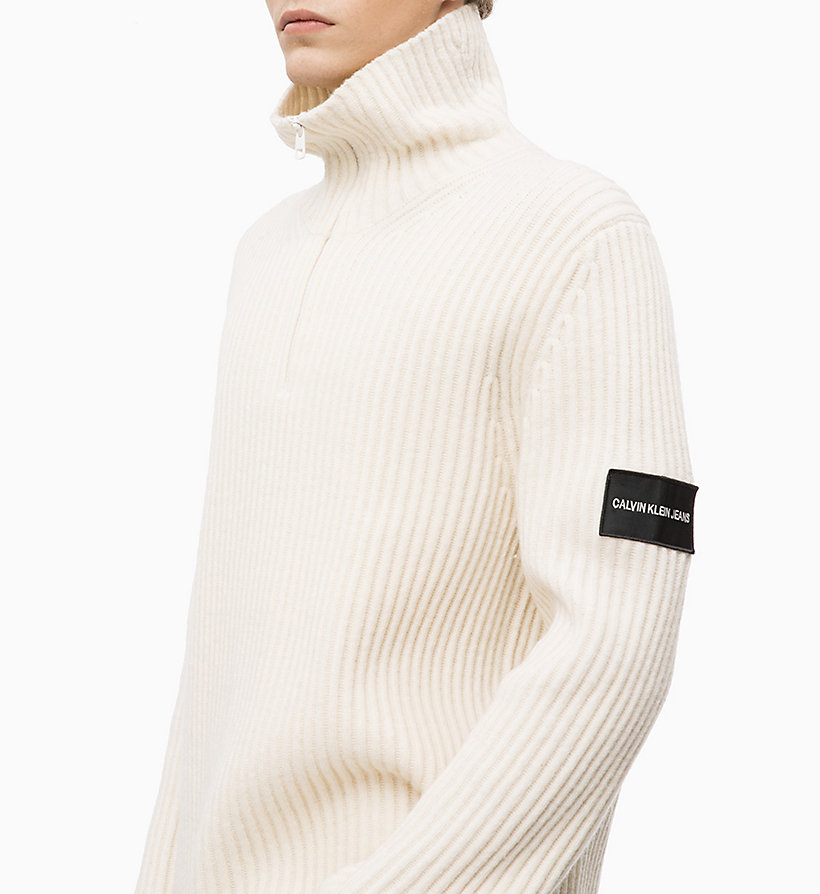 CALVIN KLEIN JEANS Lambswool Blend Zip Neck Jumper - CK BLACK - CALVIN KLEIN JEANS MEN - detail image 2