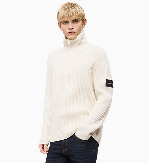 CALVIN KLEIN JEANS Lambswool Blend Zip Neck Jumper - EGRET - CALVIN KLEIN JEANS IN THE THICK OF IT FOR HIM - main image