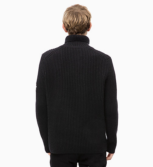CALVIN KLEIN JEANS Maglione con colletto zippato in misto lana di agnello - CK BLACK - CALVIN KLEIN JEANS IN THE THICK OF IT FOR HIM - dettaglio immagine 1