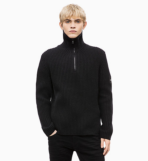 CALVIN KLEIN JEANS Maglione con colletto zippato in misto lana di agnello - CK BLACK - CALVIN KLEIN JEANS IN THE THICK OF IT FOR HIM - immagine principale