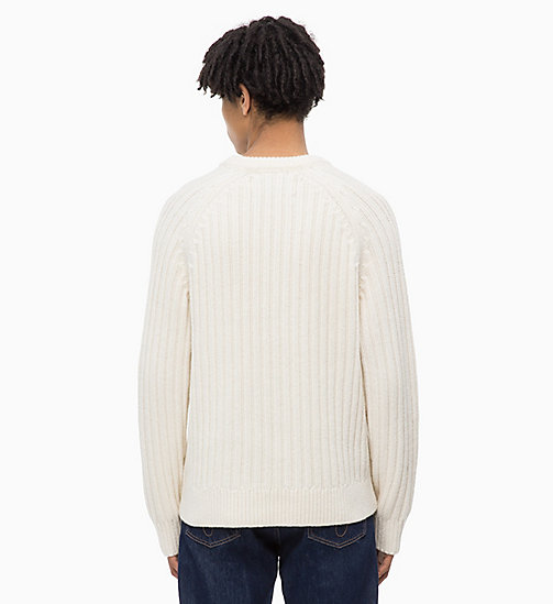 CALVIN KLEIN JEANS Lambswool Blend Cable Jumper - EGRET - CALVIN KLEIN JEANS IN THE THICK OF IT FOR HIM - detail image 1