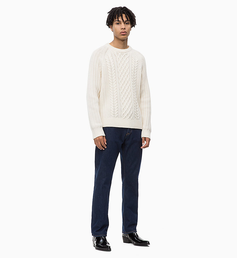 CALVIN KLEIN JEANS Lambswool Blend Cable Jumper - CK BLACK - CALVIN KLEIN JEANS MEN - detail image 3