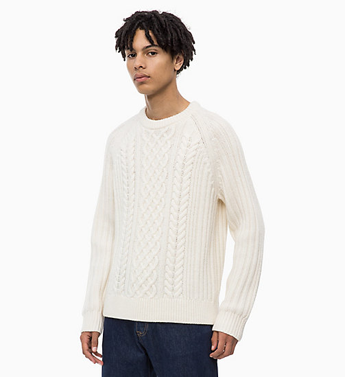 CALVIN KLEIN JEANS Lambswool Blend Cable Jumper - EGRET - CALVIN KLEIN JEANS IN THE THICK OF IT FOR HIM - main image
