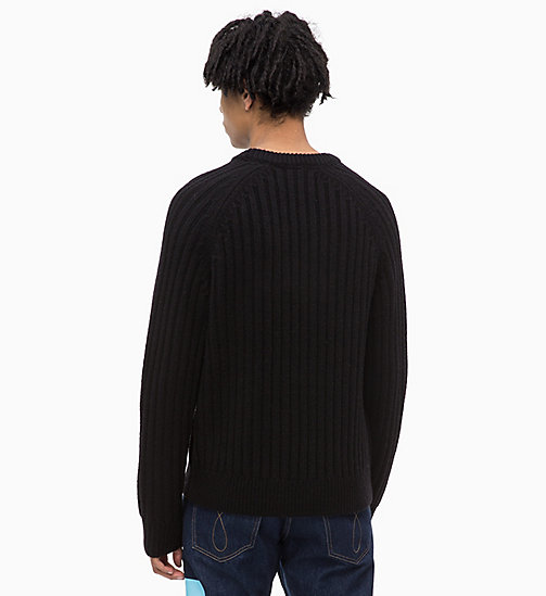 CALVIN KLEIN JEANS Lambswool Blend Cable Jumper - CK BLACK - CALVIN KLEIN JEANS IN THE THICK OF IT FOR HIM - detail image 1