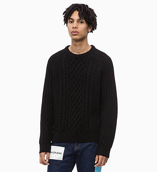 CALVIN KLEIN JEANS Lambswool Blend Cable Jumper - CK BLACK - CALVIN KLEIN JEANS IN THE THICK OF IT FOR HIM - main image