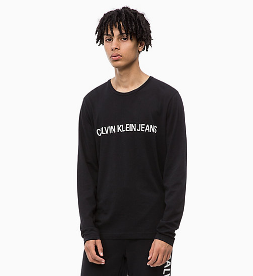 CALVIN KLEIN JEANS Slim Long Sleeve Logo T-shirt - CK BLACK - CALVIN KLEIN JEANS ALL GIFTS - main image