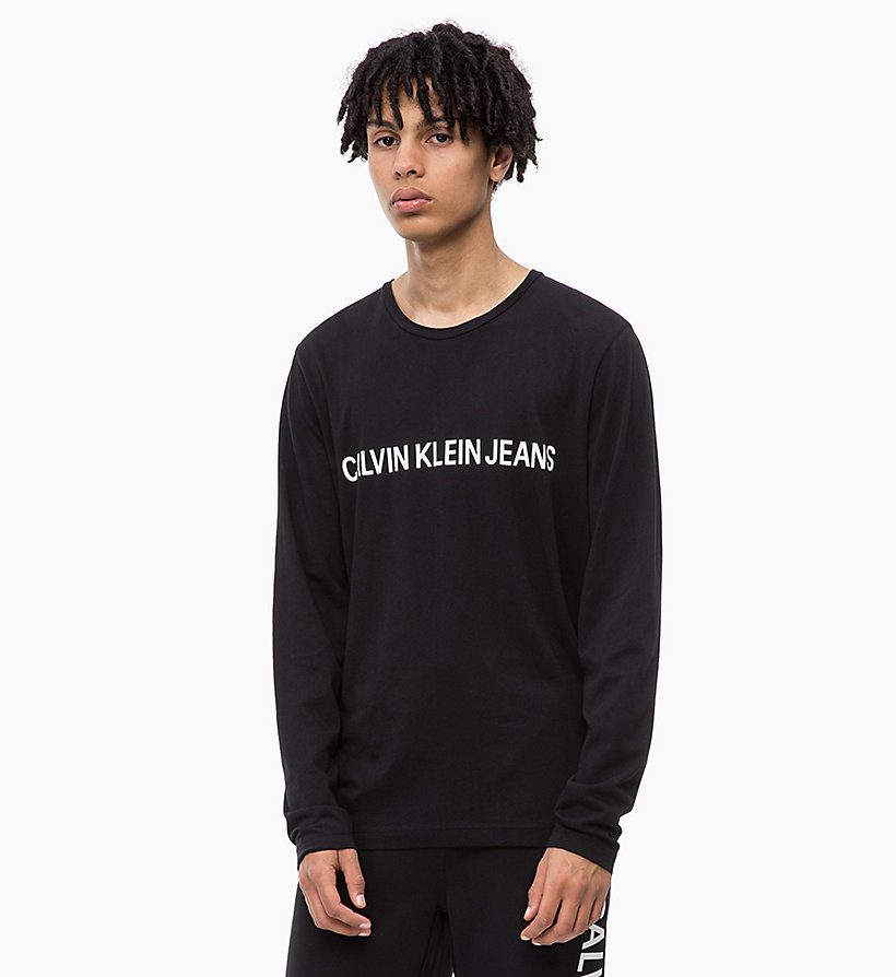 CALVIN KLEIN JEANS Slim Long Sleeve Logo T-shirt - BRIGHT WHITE - CALVIN KLEIN JEANS MEN - main image