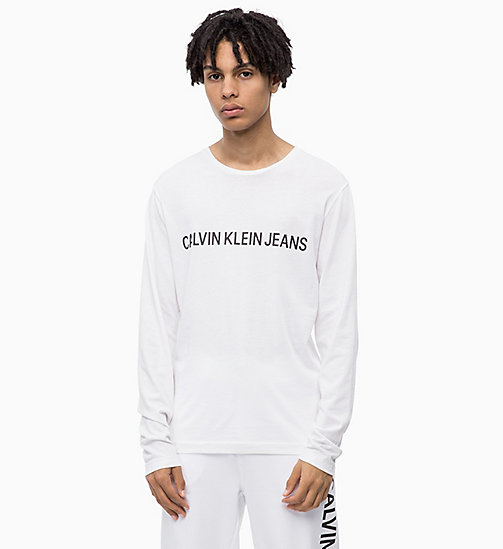 CALVIN KLEIN JEANS Slim Long Sleeve Logo T-shirt - BRIGHT WHITE - CALVIN KLEIN JEANS CLOTHES - main image
