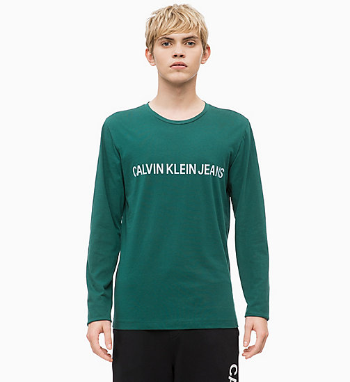 CALVIN KLEIN JEANS Slim Long Sleeve Logo T-shirt - JUNE BUG - CALVIN KLEIN JEANS CLOTHES - main image