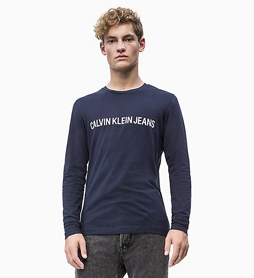 CALVIN KLEIN JEANS Slim Long Sleeve Logo T-shirt - NIGHT SKY - CALVIN KLEIN JEANS ALL GIFTS - main image