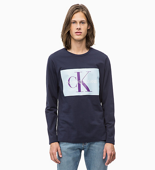 CALVIN KLEIN JEANS Slim Long Sleeve Logo T-shirt - NIGHT SKY/CHAMBRAY - CALVIN KLEIN JEANS CLOTHES - main image