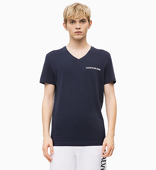 CALVIN KLEIN JEANS Slim V-Neck T-shirt - NIGHT SKY - CALVIN KLEIN JEANS CLOTHES - main image