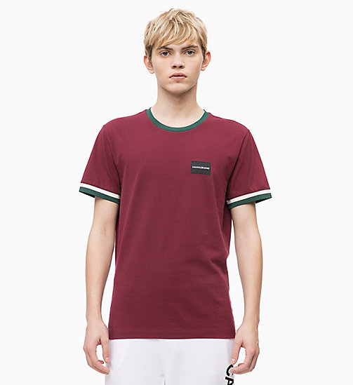 CALVIN KLEIN JEANS T-shirt con bordi profilati Slim - TAWNY PORT - CALVIN KLEIN JEANS The New Off-Duty - immagine principale