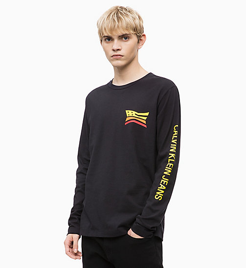 CALVIN KLEIN JEANS Long Sleeve Logo T-shirt - CK BLACK - CALVIN KLEIN JEANS BOLD GRAPHICS - main image