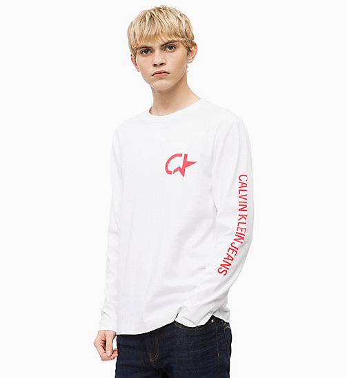 CALVIN KLEIN JEANS Long Sleeve Logo T-shirt - BRIGHT WHITE - CALVIN KLEIN JEANS BOLD GRAPHICS - main image