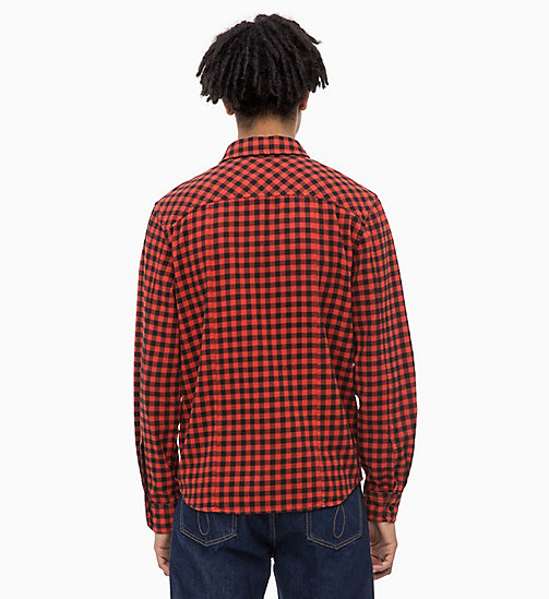 CALVIN KLEIN JEANS Gingham Check Shirt - PUMPKIN RED - CALVIN KLEIN JEANS CLOTHES - detail image 1