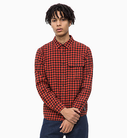 CALVIN KLEIN JEANS Gingham Check Shirt - PUMPKIN RED - CALVIN KLEIN JEANS CLOTHES - main image
