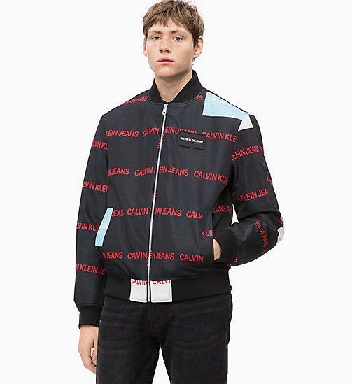 CALVIN KLEIN JEANS Multi Logo Bomber Jacket - AOP BLACK BASE - CALVIN KLEIN JEANS IN THE THICK OF IT FOR HIM - main image