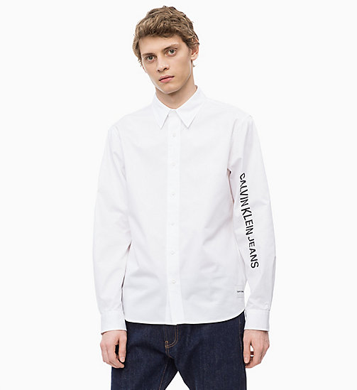 CALVIN KLEIN JEANS Cotton Twill Logo Shirt - BRIGHT WHITE / BLACK - CALVIN KLEIN JEANS The New Off-Duty - main image