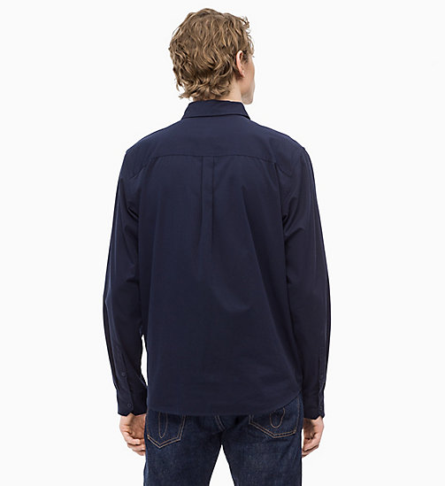 CALVIN KLEIN JEANS Cotton Twill Logo Shirt - NIGHT SKY/WHITE - CALVIN KLEIN JEANS The New Off-Duty - detail image 1