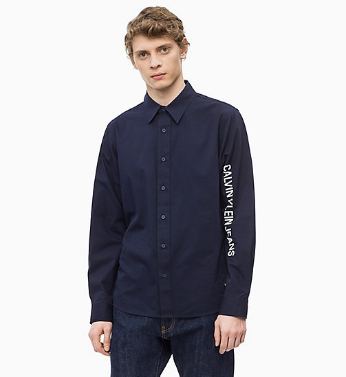 CALVIN KLEIN JEANS Cotton Twill Logo Shirt - NIGHT SKY/WHITE - CALVIN KLEIN JEANS The New Off-Duty - main image
