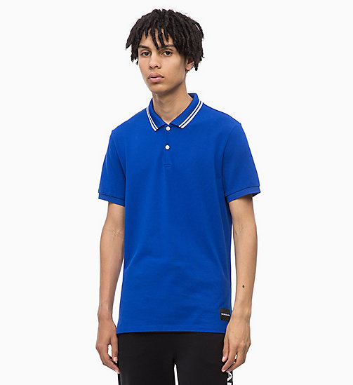 CALVIN KLEIN JEANS Slim Cotton Piqué Polo - SURF THE WEB - CALVIN KLEIN JEANS NEW IN - main image