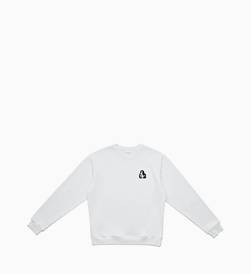 CALVIN KLEIN JEANS Embroidered Sweatshirt - BRIGHT WHITE / FIST LADY - CALVIN KLEIN JEANS CLOTHES - main image
