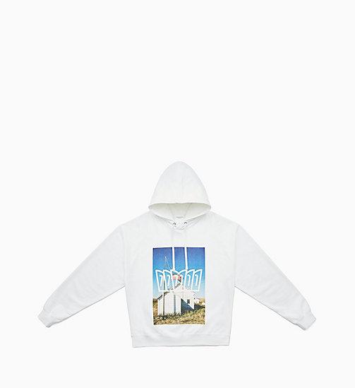 -50% CALVIN KLEIN JEANS Sweat-shirt à capuche Landscape - BRIGHT WHITE    DIGITAL SCHOOL FLAG ... 1bd7c276a119