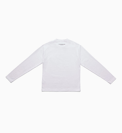 CALVIN KLEIN JEANS Icon Embroidered Long Sleeve T-shirt - BRIGHT WHITE / BLACK - CALVIN KLEIN JEANS TOPS - detail image 1