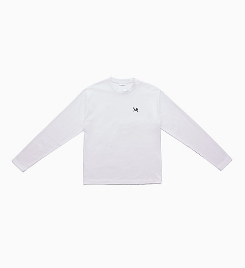 CALVIN KLEIN JEANS Icon Embroidered Long Sleeve T-shirt - BRIGHT WHITE / BLACK - CALVIN KLEIN JEANS TOPS - main image