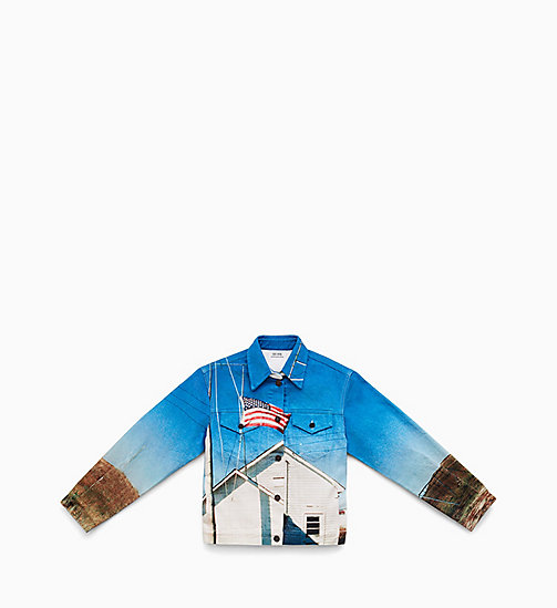 CALVIN KLEIN JEANS Landscape Denim Trucker Jacket - DIGITAL SCHOOL FLAG - CALVIN KLEIN JEANS MEN - main image