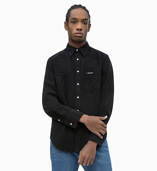 CALVIN KLEIN JEANS Denim Omega Shirt - BUCKAREST BLACK - CALVIN KLEIN JEANS NEW IN - main image