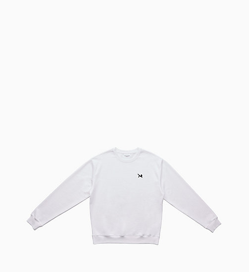 CALVIN KLEIN JEANS Icon Embroidered Sweatshirt - BRIGHT WHITE / CK BLACK - CALVIN KLEIN JEANS EST. 1978 - main image