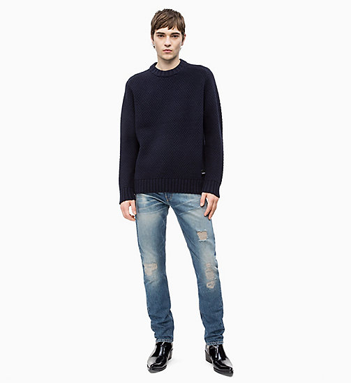CALVIN KLEIN JEANS Wool Blend Textured Jumper - NIGHT SKY - CALVIN KLEIN JEANS CLOTHES - detail image 1