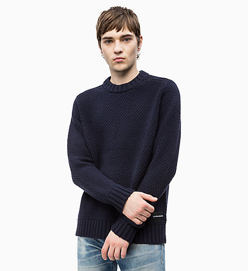 CALVIN KLEIN JEANS Wool Blend Textured Jumper - NIGHT SKY - CALVIN KLEIN JEANS CLOTHES - main image