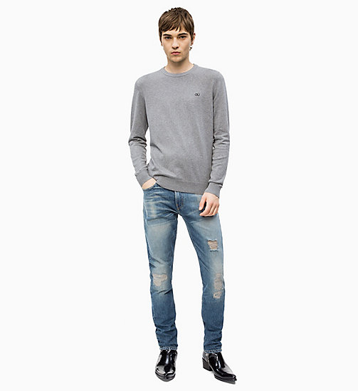 CALVIN KLEIN JEANS Cotton Blend Jumper - GREY HEATHER - CALVIN KLEIN JEANS CLOTHES - detail image 1