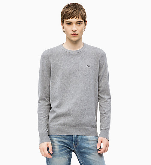 CALVIN KLEIN JEANS Pullover aus Baumwoll-Mix - GREY HEATHER - CALVIN KLEIN JEANS NEW IN - main image