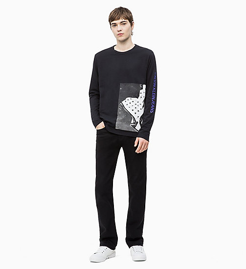 CALVIN KLEIN JEANS Long Sleeve Flag Print T-shirt - CK BLACK - CALVIN KLEIN JEANS NEW IN - detail image 1