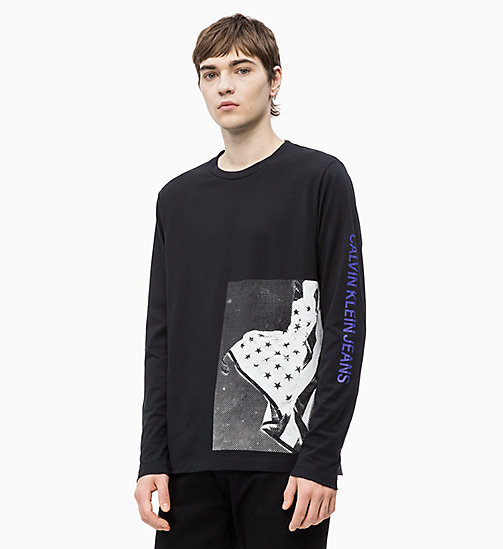 CALVIN KLEIN JEANS Long Sleeve Flag Print T-shirt - CK BLACK -  NEW IN - main image