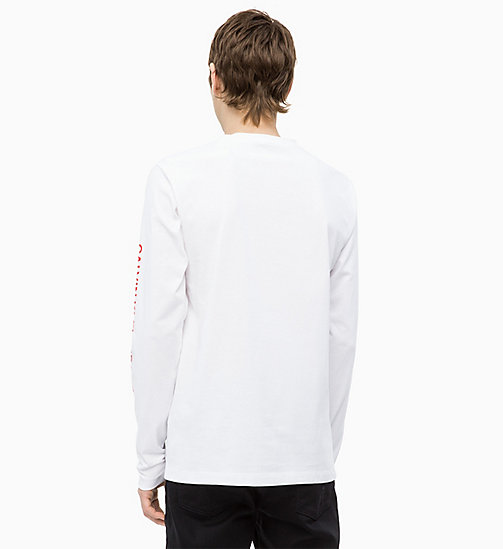 CALVIN KLEIN JEANS Long Sleeve Flag Print T-shirt - BRIGHT WHITE - CALVIN KLEIN JEANS NEW IN - detail image 1