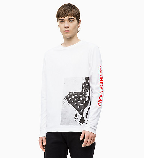 CALVIN KLEIN JEANS Long Sleeve Flag Print T-shirt - BRIGHT WHITE - CALVIN KLEIN JEANS NEW IN - main image
