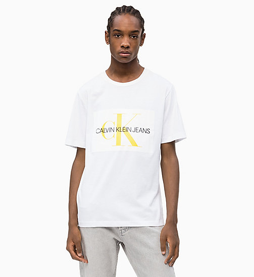 CALVIN KLEIN JEANS Flock Logo T-shirt - BRIGHT WHITE - CALVIN KLEIN JEANS NEW IN - main image