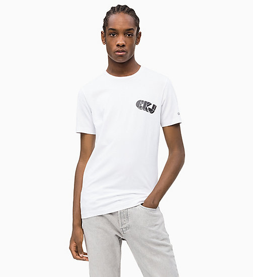 CALVIN KLEIN JEANS Slim Grafik-Logo-T-Shirt - BRIGHT WHITE - CALVIN KLEIN JEANS NEW IN - main image