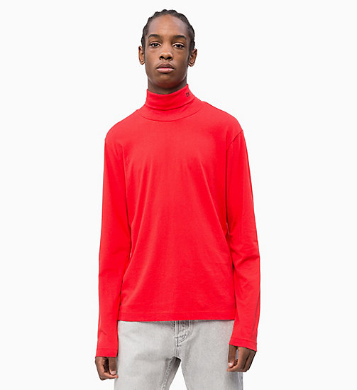CALVIN KLEIN JEANS Slim Long Sleeve Turtleneck Jumper - RACING RED - CALVIN KLEIN JEANS NEW IN - main image